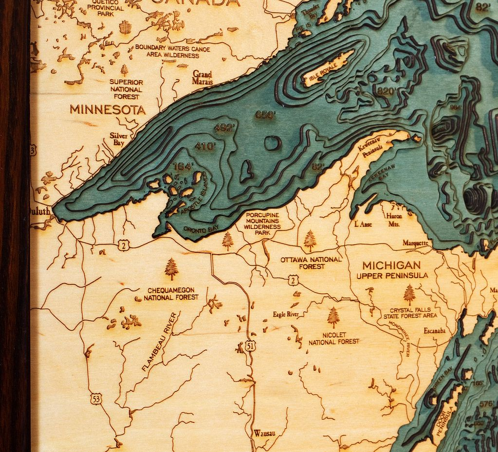 Rare Earth Gallery Great Lakes (Sm, Bathymetric 3-D Wood Carved Nautical Chart)