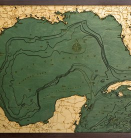 Rare Earth Gallery Gulf of Mexico (Bathymetric 3-D Wood Carved Nautical Chart)