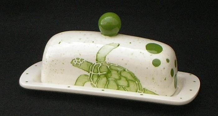 "Rare Earth Gallery Butter Dish, Sea Turtle (Lid w/Knob, Single, 8"" x 3.5"")"