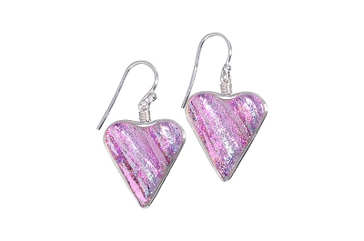 Rare Earth Gallery HEART EARRINGS (Dichroic Art Glass, Red, Silver or Pink only, #210)