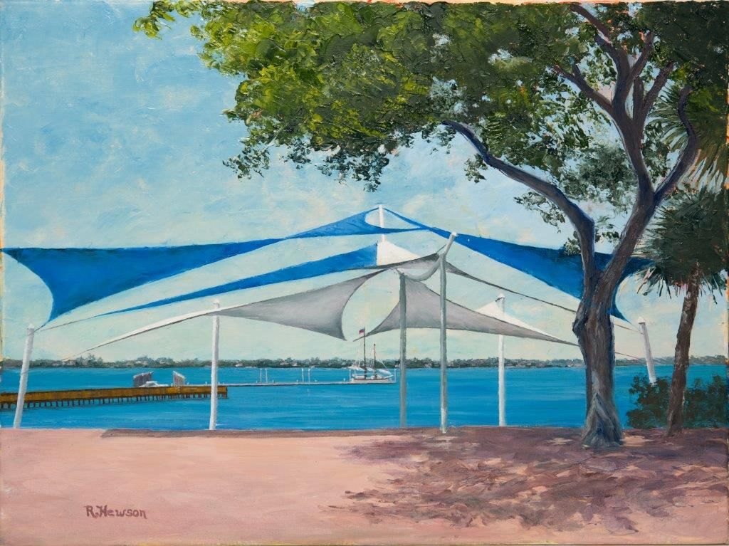 Ruthann Hewson Sails at Riverwalk Stage (Original Oil, Framed, 18x24)