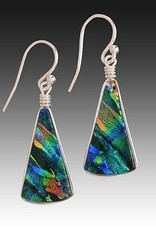 Rare Earth Gallery FAN EARRINGS (Sm, Dichroic Art Glass, Assorted Colors, #205)