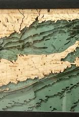 Rare Earth Gallery Long Island Sound (Bathymetric 3-D Wood Carved Nautical Chart)