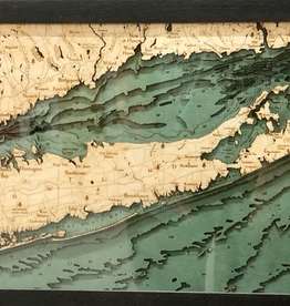 Rare Earth Gallery Long Island Sound (Bathymetric 3-D Wood Carved Nautical Chart)