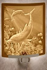 Rare Earth Gallery DOLPHINS (Lithophane Nightlight)