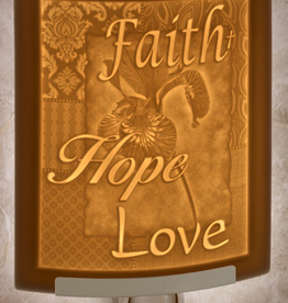Rare Earth Gallery FAITH HOPE LOVE (Lithophane Nightlight)
