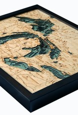 Rare Earth Gallery Great Lakes (Lg, Bathymetric 3-D Wood Carved Nautical Chart)