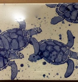 """Rare Earth Gallery Platter, Sea Turtle Babies (Blue, Md, 15.5"""" x 5.25"""")"""