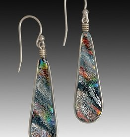 Rare Earth Gallery TEARDROP EARRINGS (Lg, Dichroic Art Glass, Assorted Colors, #225)