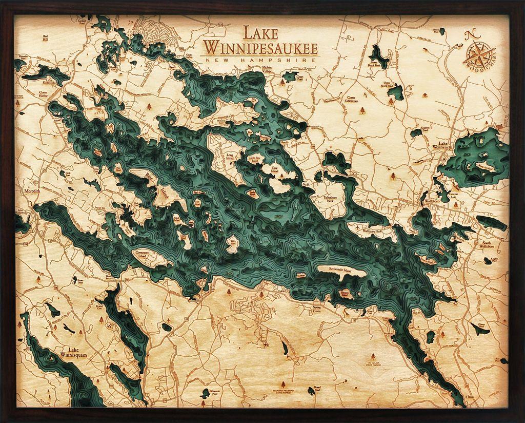 Rare Earth Gallery Lake Winnipesauke (Bathymetric 3-D Wood Carved Nautical Chart)