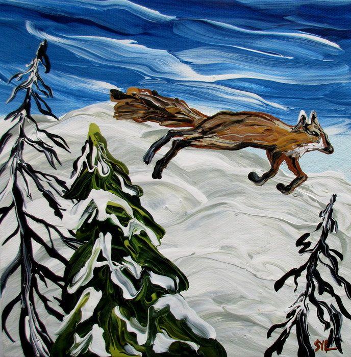 "Rare Earth Gallery Fox on the Run (Original Acrylic, 4"" SQ)"