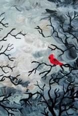 "Rare Earth Gallery Cardinal (Original Acrylic, 4"" SQ)"