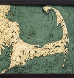 Rare Earth Gallery Cape Cod (Sm, Bathymetric 3-D Wood Carved Nautical Chart)