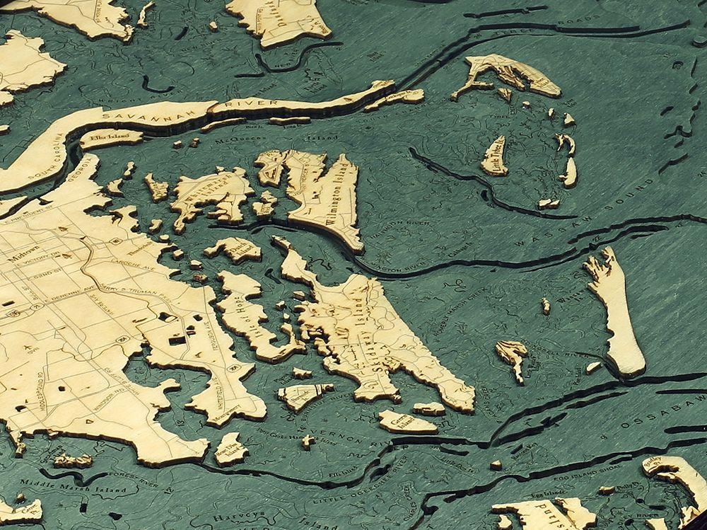 Rare Earth Gallery Savannah, GA (Bathymetric 3-D Wood Carved Nautical Chart)
