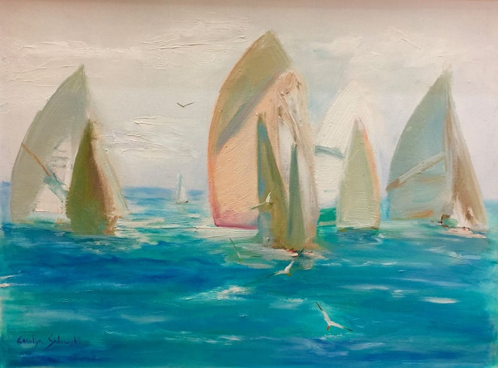 "Carolyn Sadowski Racing Sails (Original Oil, Framed, Signed, 18"" x 24"")"