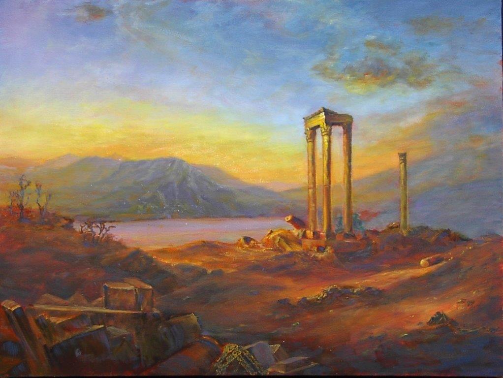 Ruthann Hewson Ruins of Baalbek (copy of Frederic Church Oil, Print, Matted, 11x14)