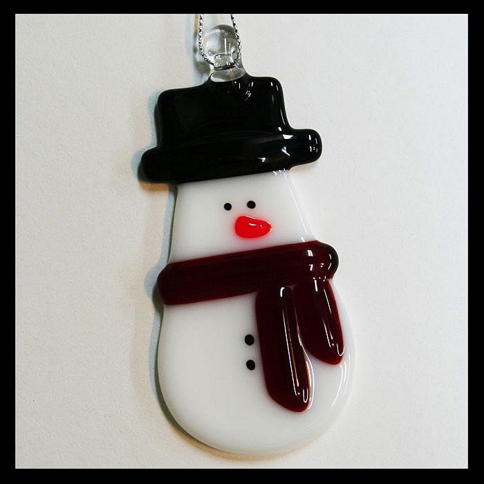Rare Earth Gallery SNOWMAN w/BLACK TOP HAT ORNAMENT