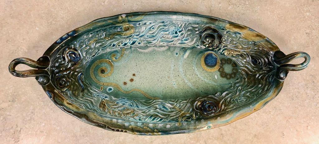 Gail Snively Platter (Fruit, Oval, Handles, XL, #433)