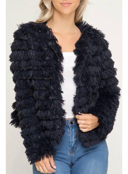 She & Sky Layered Faux Fur Jacket