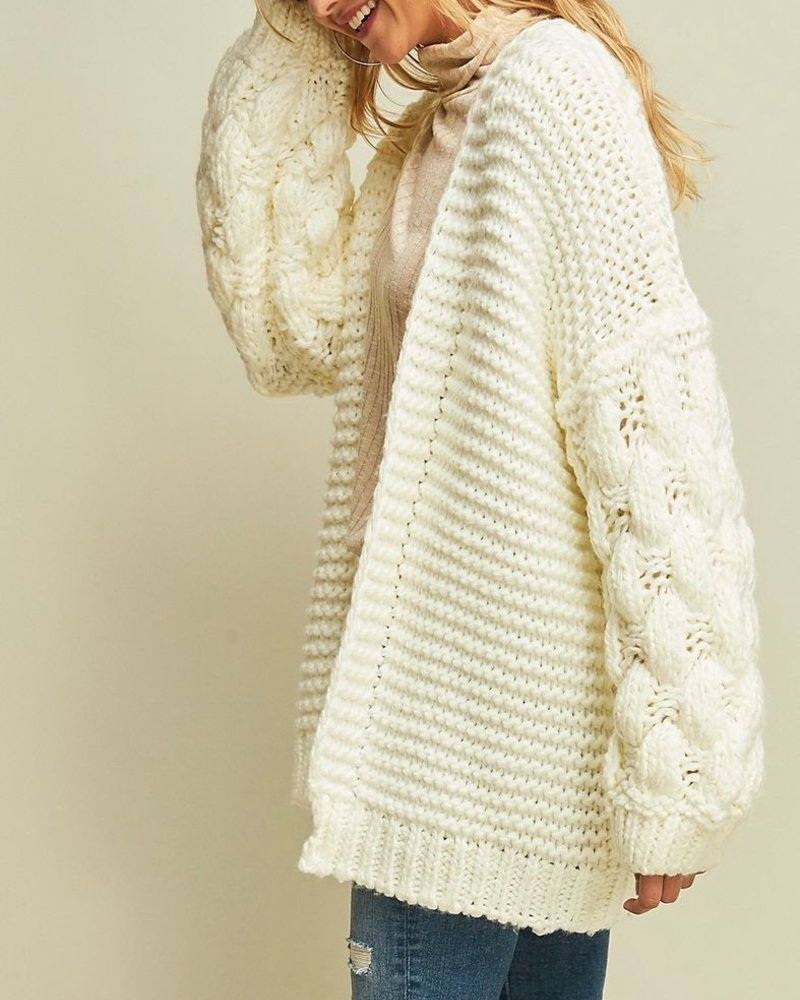 Entro Cable Knit Sleeve Cardigan