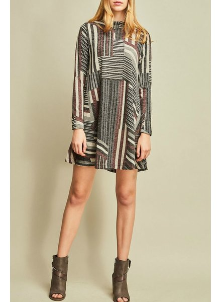Entro Printed Mock Neck Dress