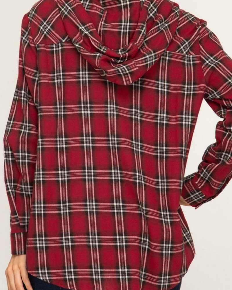 She & Sky Plaid button up hoodie
