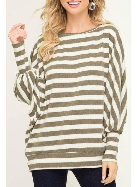 She & Sky Striped Dolman Tunic