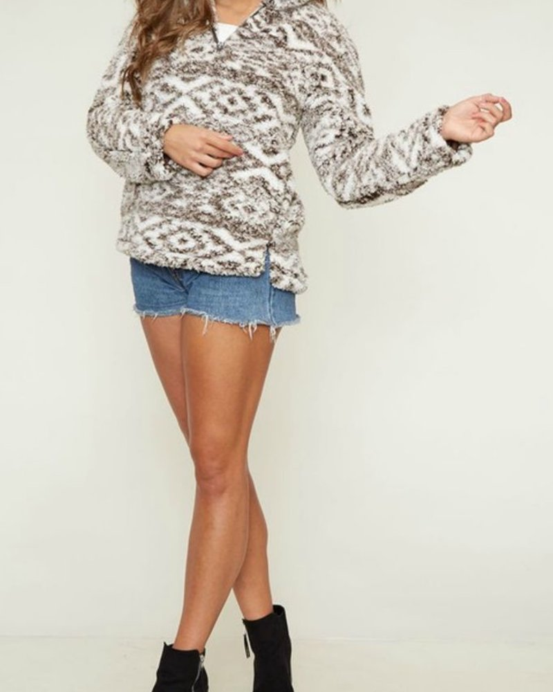 Peach Love CA Two Tone Sherpa Pullover