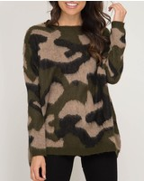She & Sky Long Sleeve Camouflage Print Pullover Sweater