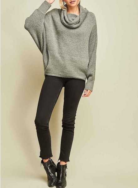 Entro Cowl Neck Long Sleeve Pullover Sweater