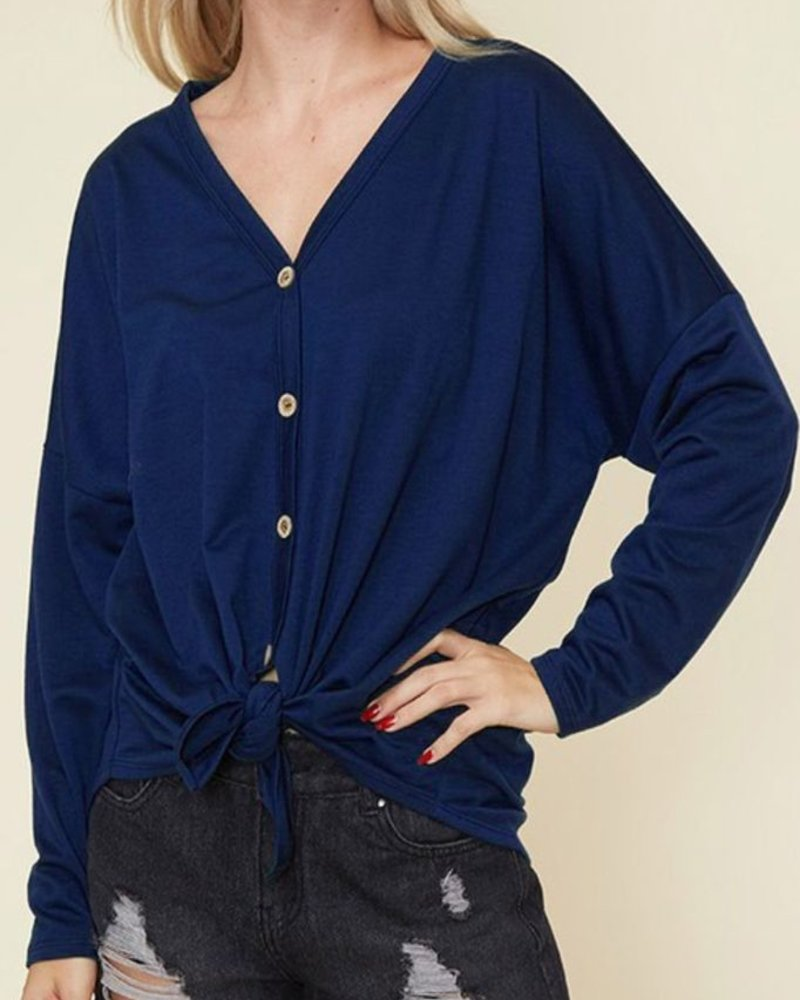Fantastic Fawn Tie Front Solid Top