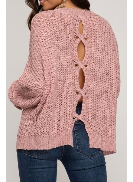 She & Sky Open Back Sweater