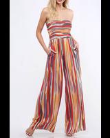 Peach Love CA Striped Tube Jumpsuit