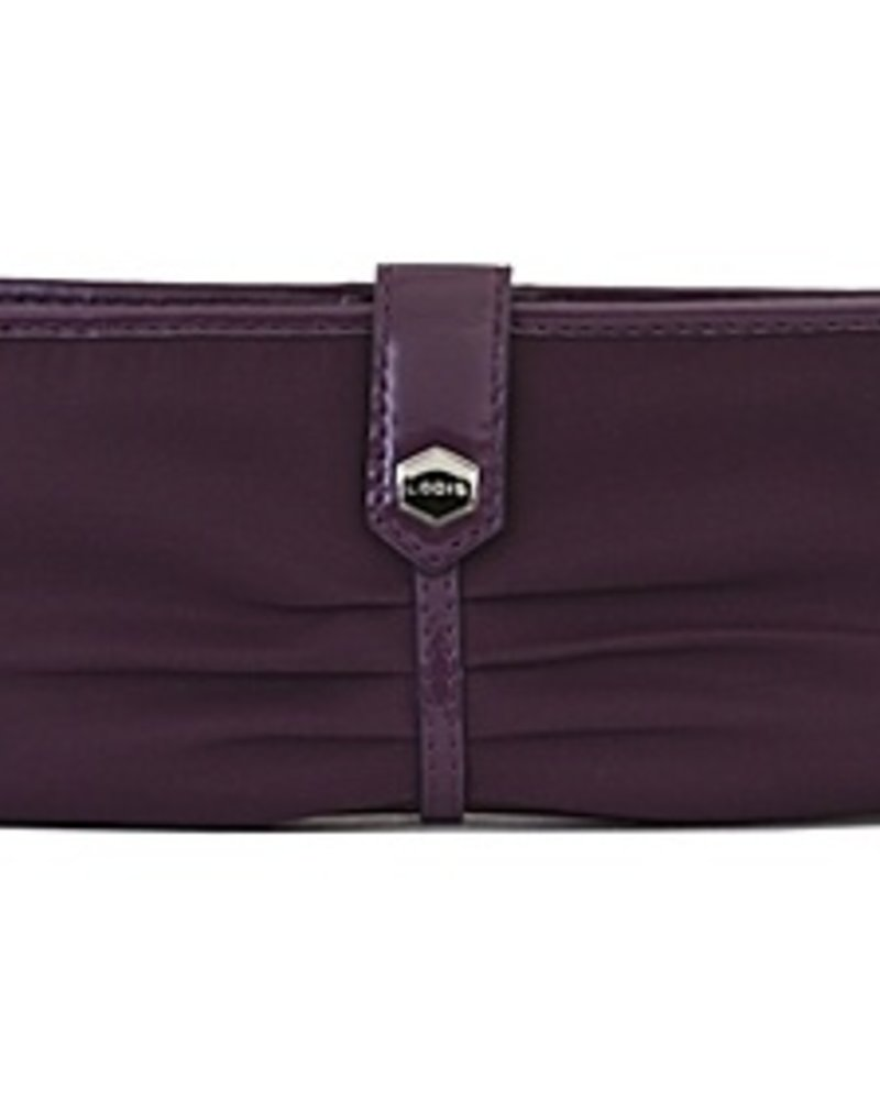 Lodis Lodis Pia Patent Clutch in Aubergine with Removeable ID Holder