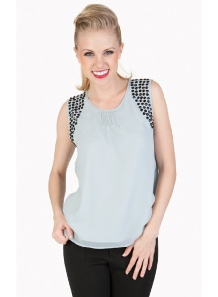 Tulle Tulle Sleeveless Top with Pleat Details in Front