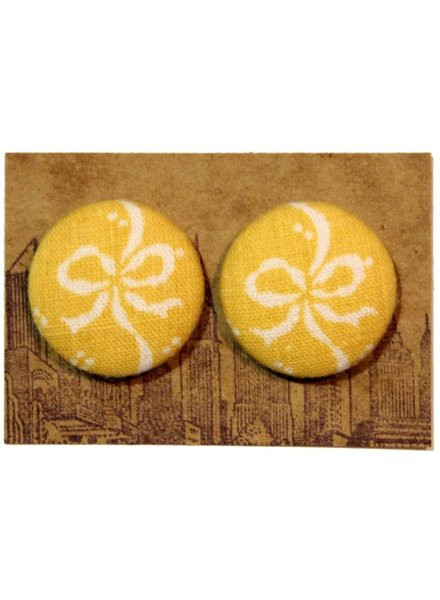 Manhattan Hippy MH yellow ribbon print earring, sale item, Was $8.50