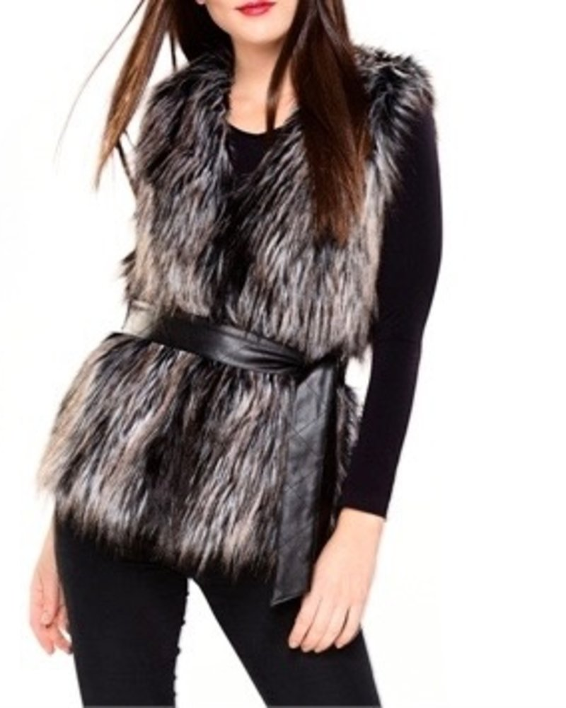 Charlie Paige Faux Fur Vest with Belt