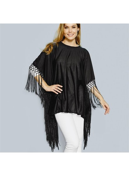Two's Two's Company Black Fringe Poncho
