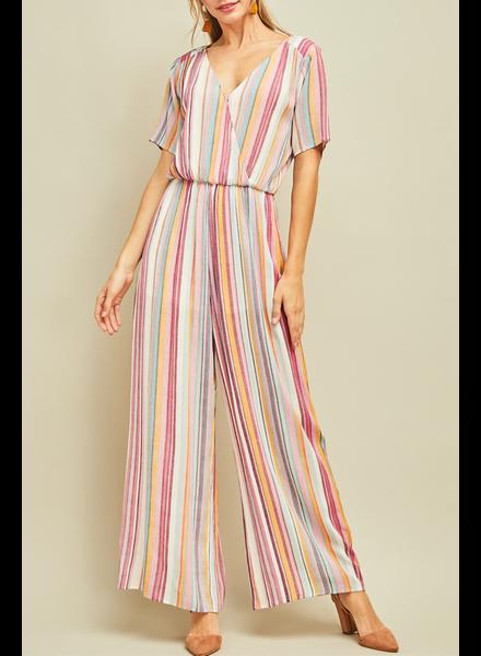 Entro Striped short sleeve jumpsuit, sale item, Was $64