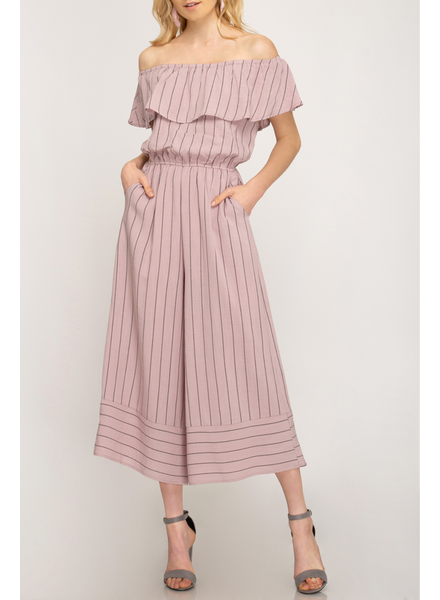She & Sky Striped Off Shoulder Jumpsuit, sale item, Was $65