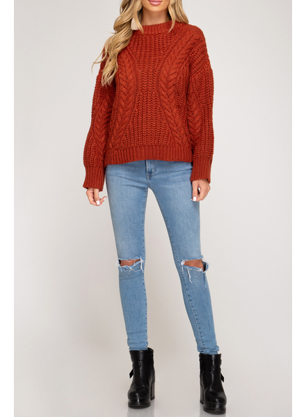 She & Sky High Neck Cable knit sweater