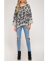 She & Sky Oversized Printed Sweater