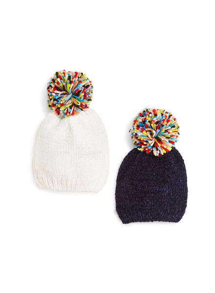 Two's Chenille Hat with Multicolored Pom