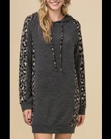 Entro Hooded animal print dress