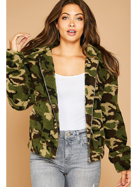 Peach Love CA Sherpa Camo Jacket