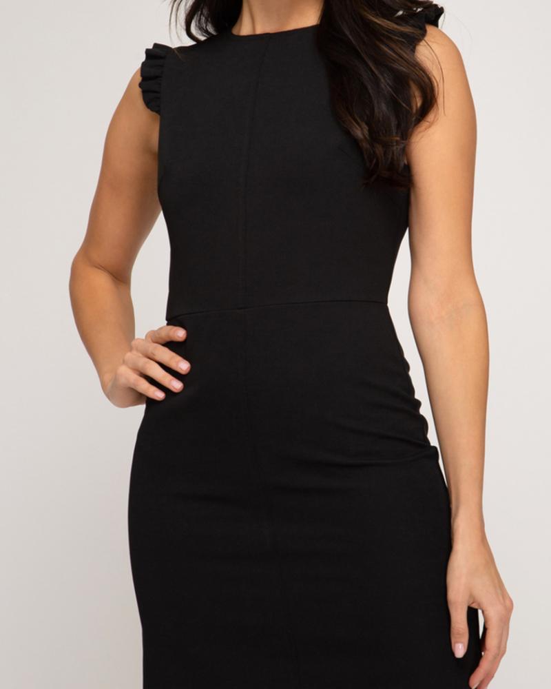 She & Sky Ruffled shoulder dress