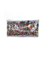Julie Mollo Clear Glitter Confetti Clutch