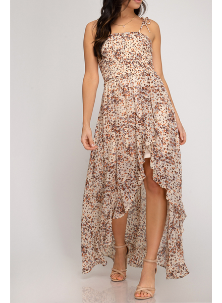 She & Sky Smocked Hi Low Dress