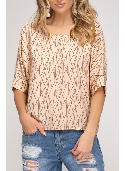 She & Sky Geometric print top