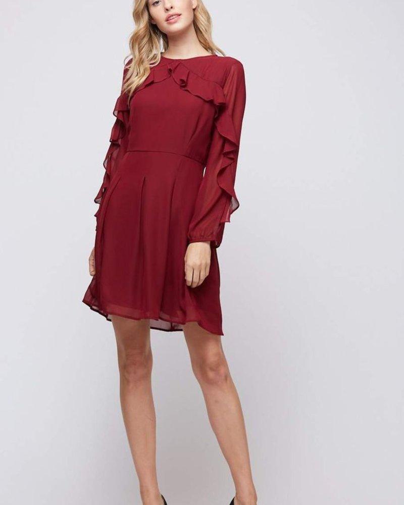 Peach Love CA Ruffled Long Sleeve Dress